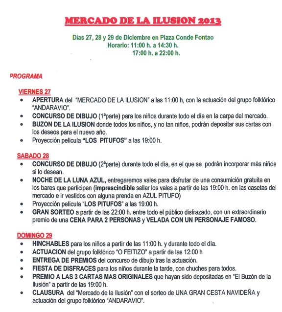 Programa de actos do Mercado da Ilusión