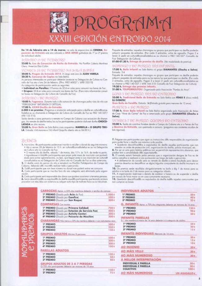 Programa de actos do Entroido de Foz 2014